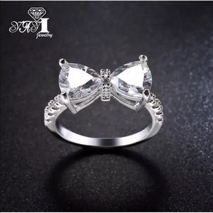 Crystal Bow Silver Engagement Promise Ring